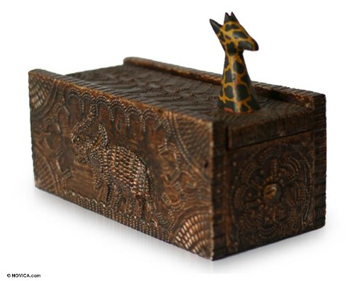 NOVICA Hand Carved Safari Zoo Animal Wood Jewelry Box, Proud Giraffe'