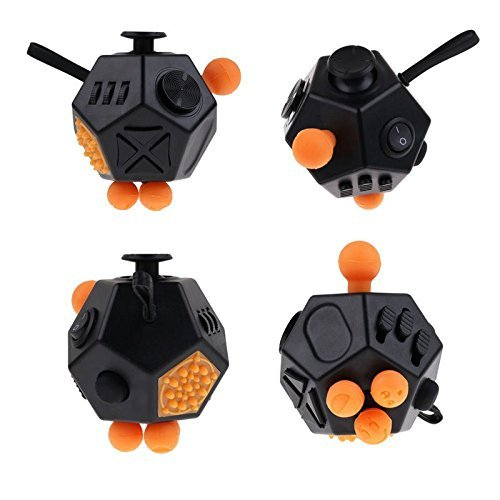 Coopei Fidget toys Cube for Fidgeters! Stress Relief Anxiety Attention Desk Toy for Adult and Children (12 Sided- Black) -