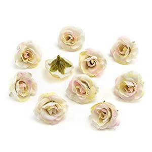 Fake flower heads in bulk wholesale for Crafts Peony Flower Head Silk Artificial Flowers Wedding Decoration DIY Decorative Wreath Fake Flowers Party Birthday Home Decor 30 Pieces 3.5cm (White Pink) 25