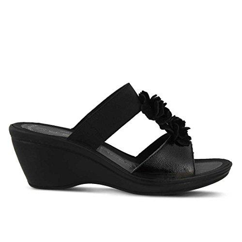 Womens Sandal Gather Flexus Leather Black Sp3 Slide ZwT0xdq4
