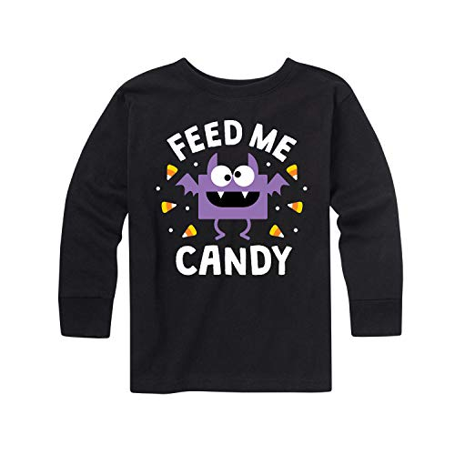 Instant Message Feed Me Candy Bat - Toddler Long Sleeve Tee Black -