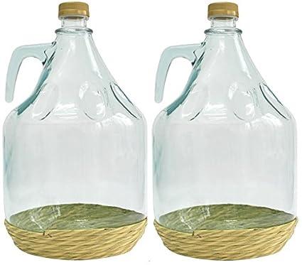 Conjunto de 2 botella de cristal botella de vidrio globo gärballon vasos de vino globo 3L