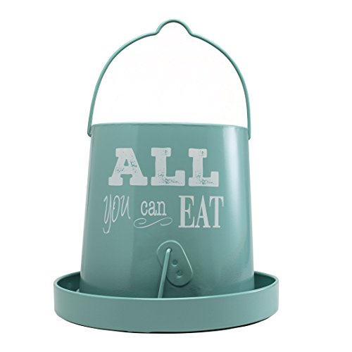 SummerHawk Ranch Galvanized Poultry Feeder - All You Can Eat, Vintage Teal Hanging Chicken Feeder, 15 lb.