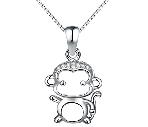 Sterling Silver Monkey Charm - Adorable Woman New Cute Small Monkey Charm Sterling Silver Pendant Necklace Fashion Jewelry For Girl