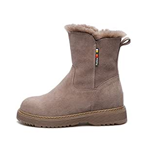 Platform Snow Shoes, Fashion Plus Velvet Warm Boots, Stable and Comfortable Non-Slip Ladies Bread Shoes Short Boots,Sand,38