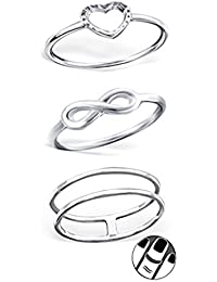 """Best Wing Jewelry .925 Sterling Silver """"Infinity Love"""" Set Midi Ring, Above Knuckle Ring, Mid Finger Ring (3 Rings)"""