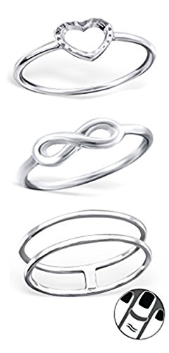 Best Wing Jewelry .925 Sterling Silver ''Infinity Love'' Set Midi Ring, Above Knuckle Ring, Mid Finger Ring (3 Rings) by Best Wing Midi Ring