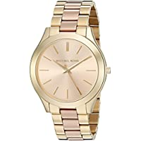 Michael Kors slim runway 3 reloj de pulsera de dos tonos para mujer, 42 mm, Dorado