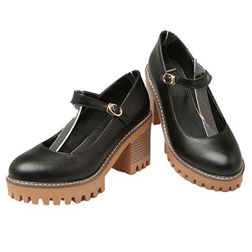 AIYOUMEI Damen Geschlossen Knöchelriemchen Pumps mit 8cm Absatz Blockabsatz Bequem Schuhe Schwarz
