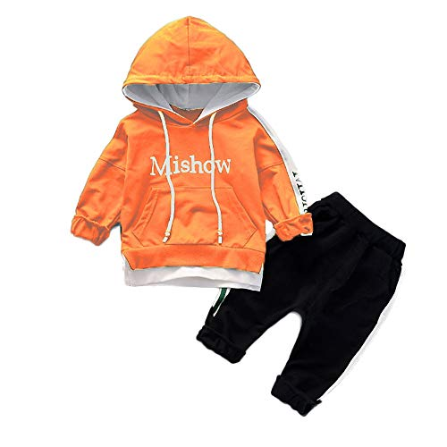 Baby Outfits Unisex Love Daddy,Toddler Kids Baby Boy Girl Letter Hooded Pullover Tops+Pants Clothes Set Outfits,Girls' Clothing,Orange,S/80 ()