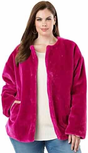 1a2cdf1a85a Roamans Women s Plus Size Faux-Fur Jacket