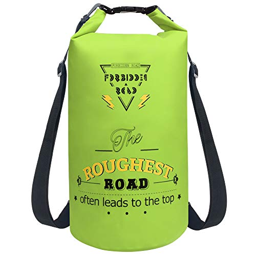 Forbidden Road 5L 10L 15L Waterproof Dry Bag (8 Colors) Dry Sack Roll Top Dry Compression Sack Keeps Gear Dry for Kayaking Boating Camping Canoeing Fishing Skiing Snowboarding (Green, 20L)