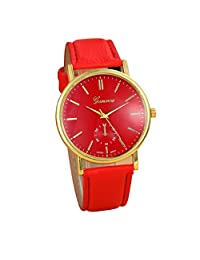 Lowpricenice New Unisex Leather Band Analog Quartz Vogue Wrist Watch Watches Red