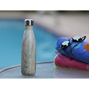 MIRA Vacuum Insulated Travel Water Bottle | Leak-proof Double Walled Stainless Steel Cola Shape Portable Water Bottle | No Sweating, Keeps Your Drink Hot & Cold | 17 Oz (500 ml) (Gray Orange Granite)