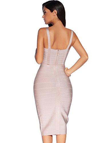 a aderente rayon fascia donna 1 abito in da Meilun senza maniche Beige pHROFqZw