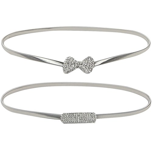 kilofly 2pc Women's Silver Metal Thin Skinny Stretch Belt Rhinestone Waistband (Silver Skinny Belt)