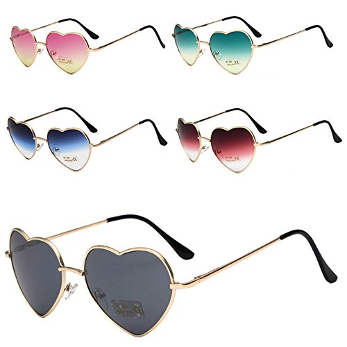 and Cute Sunglasses red Ultra Frame Gradient Protection Dustproof Trend Optional zhengenevolent Men Metal UV Style Fashion gradient Thin Multi Reflective Color Glasses Heart Classic Color Shape Women wXFR55q