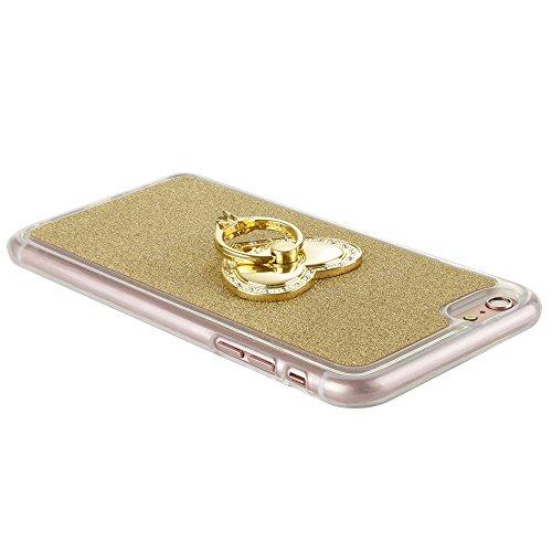"""MOONCASE iPhone 6S Glitzer Hülle TPU Silikon Tasche Etui Schale Case für iPhone 6 / 6S 4.7"""" Schutzhülle mit Herz Strass Ringe Ständer 360 Rotation Gold"""
