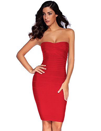 Meilun Women's Rayon Strapless Stretch Bandage Dress Small Red