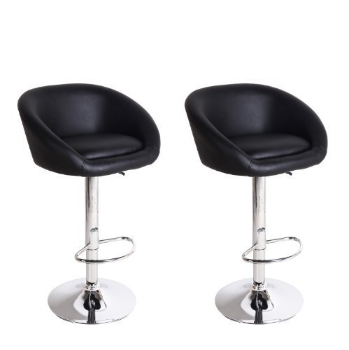 Black Hydraulic Lift Adjustable Barstool Low Wrap Around Back Chair, Leather-Look, Chrome Finish Pedestal Base (Set of Two) ()