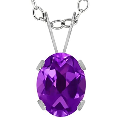 1.10 Ct Oval Purple Amethyst 14K White Gold Pendant