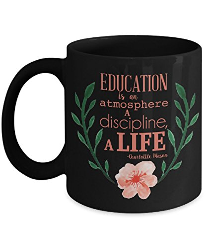 Charlotte Mason Mug - Education is a Life - 11 oz Ceramic Mug with Watercolor Flowers, Made in the USA