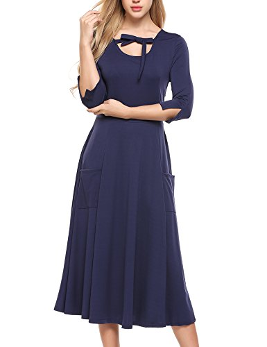 Loose Women's 3 Casual Long Blue Sleeve 4 Navy Flare Pockets Dress ACEVOG Swing Midi Yd6qwd5