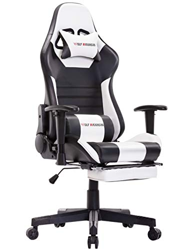 Gaming Chair Racing Style Office Chair Swivel Rocker Recliner Computer Chair Leather High Back Ergonomic Computer Desk Chair with Footrest