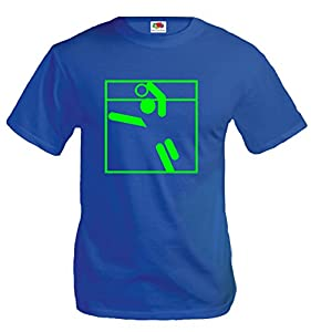 T-Shirt Faustball-Piktogramm-S-Royal-Neongreen