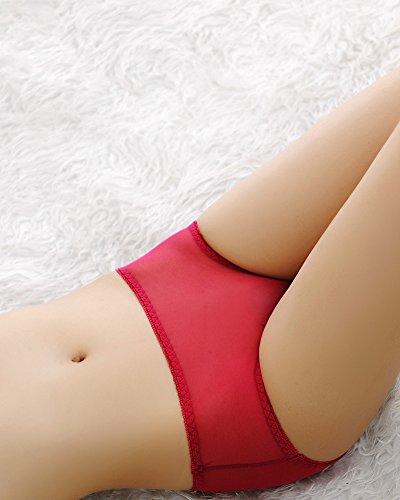 Tangas de Mujer Calzoncillos Bragas Cintura Baja Tanga Ropa Interior Vino Rojo