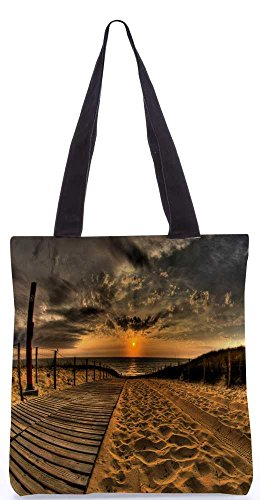"""Snoogg Sonnenuntergang Meersand-Einkaufstasche 13,5 X 15 In """"Shopping-Dienstprogramm Tragetasche Aus Polyester Canvas"""