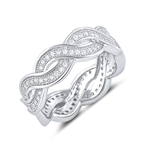 Sterling Silver Cz Infinity Eternity Ring - Size 7