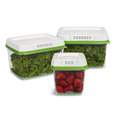 Rubbermaid FreshWorks Produce Saver Food Storage Containers, 3-Piece Set 2016450 (Renewed)