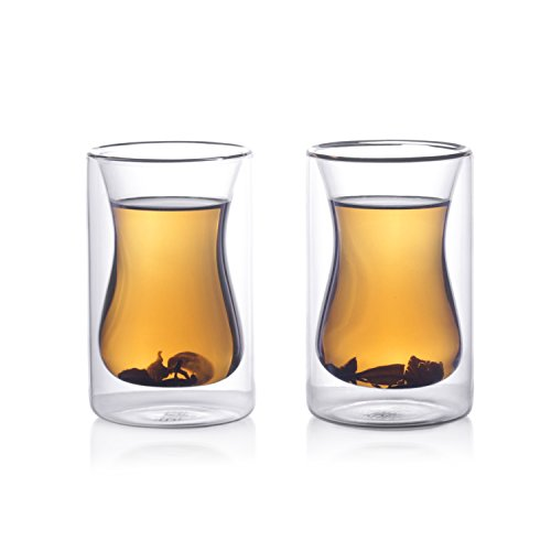 Eparé 6 oz Insulated Tea Glass (Set of 2) - Double Wall Drinking Glasses Thermal Tumbler Cup for Turkish Coffee Pot Water Beer or Juice - Teapot Infuser Glassware Accessory - Lead Free