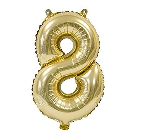 H&B HB – Balón Metal Oro 36 cm – Número 8: Amazon.es: Hogar