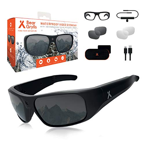 Bear Grylls Waterproof Action Camera Glasses (BG-GLS-1) with Full HD 1080P Built-in POV Camera IP66 Waterproof 90° Sports Camera Impact Resistant U400 Polarised Lenses with Full Accessory Kit.