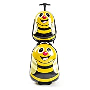 Kiddietotes Kids Carry-on Luggage – Great for Girls and Boys – Smooth Rolling Wheels – Bumblebee