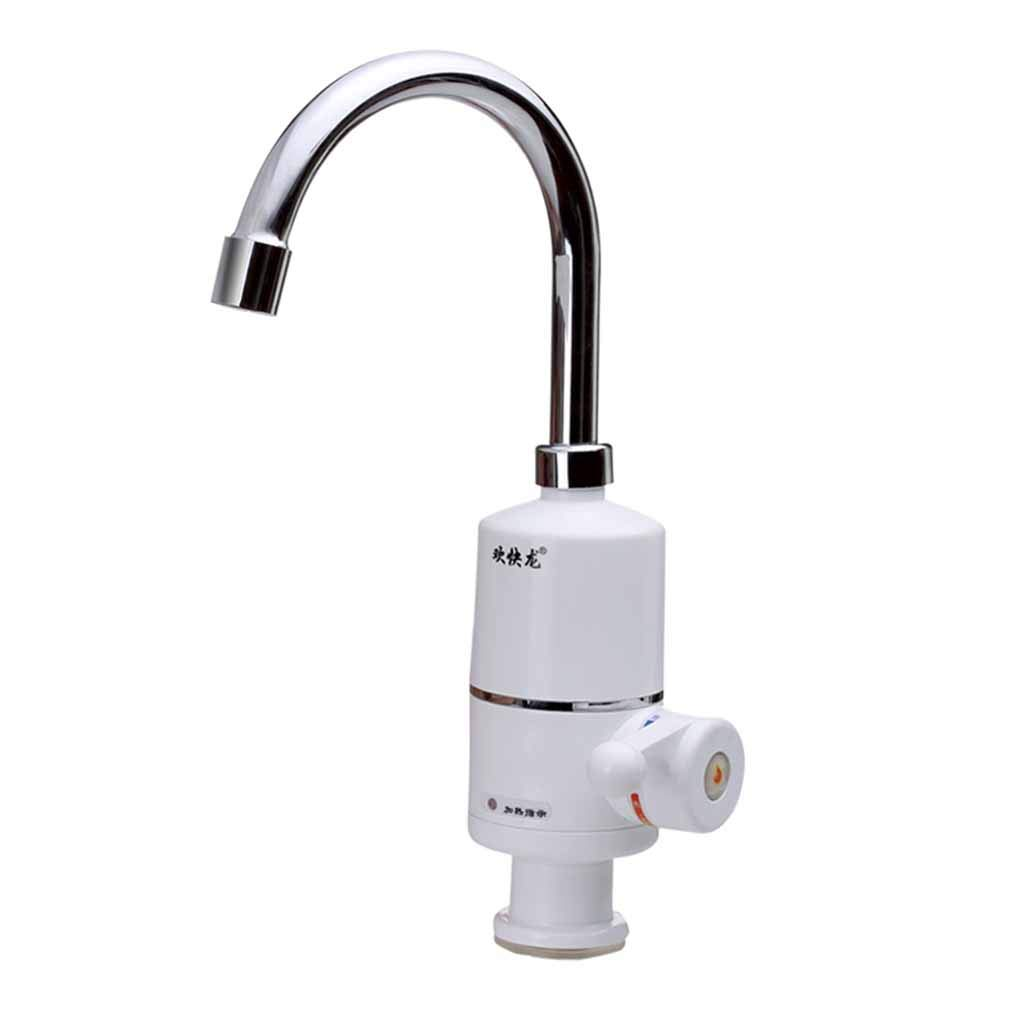 Kitchen Water Faucet Kitchen Faucet Heater Tankless Instant Electric 304 Stainless Steel Hot Water Heater Faucet Heating Tap Roscloud@ (Color : White, Size : 3000W)
