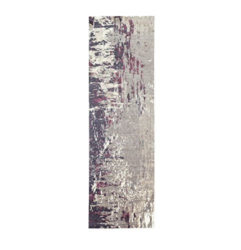 (Diva At Home 2.5' x 8' Lulled Watercolor Slate Gray, White and Blushed Red Area Throw Rug Runner)