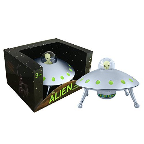 Off the Wall Toys Alien Glow-in-The-Dark UFO Space Ship and Bendable Action Figure Toy -