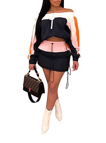 - Ophestin Women Off Shoulder Color Block Stripe Long Sleeve Crop Top Jacket Skirts Set 2 Piece Mini Dress Outfits Navy S