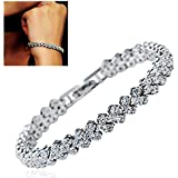 Women Fashion Roman Chain Clear Zircon Crystal Bangle Rhinestone Bracelet Gift NiceShopping