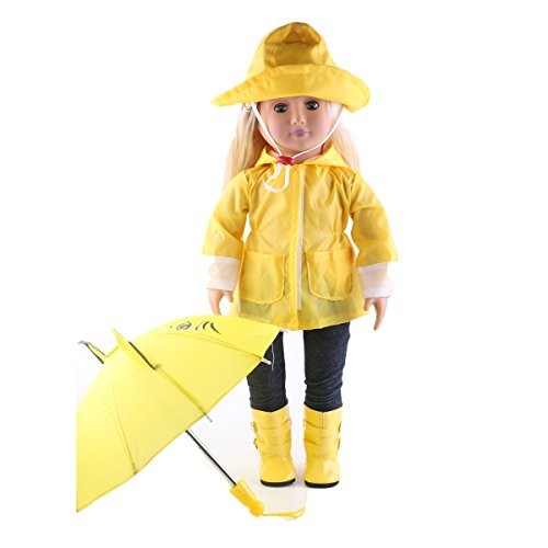 [ZWSISU Doll Clothes Yellow Rain Outfits Accessories for 18 inch American Girl Dolls Package Includes Rain Jacket, Umbrella, Boots, Hat, Pants,and Shirt by] (Yellow Rain Jacket Costume)