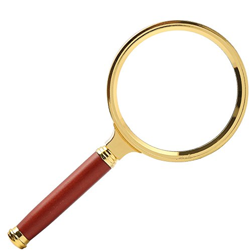 Handsome Frame Rosewood (ZHONGYIN Magnifying glass, Antique Style 10X Handheld Magnifier Reading Magnifier with Redwood for Book and Newspaper Reading, Inspection, Coins, Insects, Rocks, Map, Classroom Science (Red, 80MM))