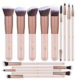 Makeupbox 14 Brochas de maquillaje kabuki Rose Gold Profesionales Gran Aplicación Suaves y Firmes%100 Veganas y cruelty fre (Pink)