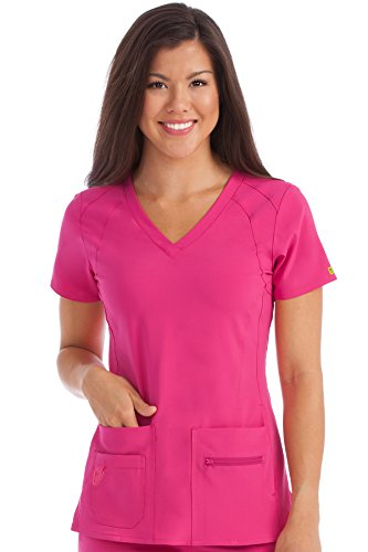 Med Couture Activate Women's V-Neck Racerback Scrub Top, Pink Punch, XXX-Large