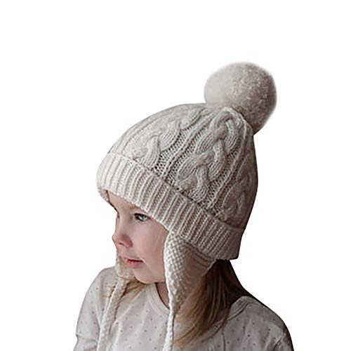Gbell Toddler Baby Knitting Hats with Earflaps,Infant Winter Pompom Skully Bonnets Warm Crochet Earflaps Cap for Girls Boys Kids 6 Months - 6 Years Old