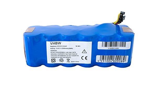 vhbw® Baterías 2000mAh reemplaza LP43SC2000P para aspiradoras Profimaster Robot 2712 / Ariete Briciola 2711, 2712, 2713, 2717 / Ariete Evolution 2.0: ...