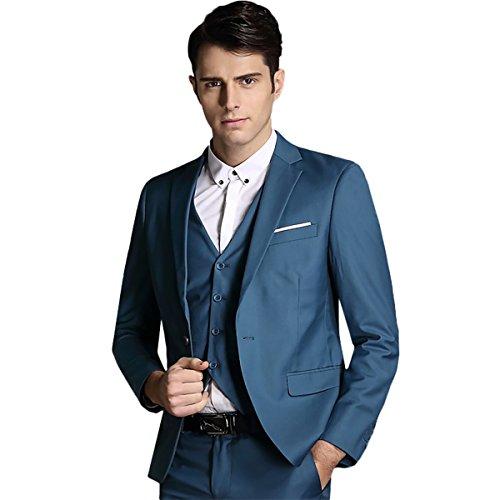 [Mens Notch Lapel Modern Fit Suit Blazer Jacket Tux Vest and Trousers Set Three-Piece,Blue,Small] (Tux Suit Jacket)