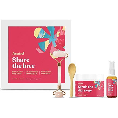 Asutra Share the Love Kit 3-Piece Skin Care Set, Includes Rose Quartz Face Roller, Sensual Rose Body Scrub, Love Your Skin Rose Body Oil Spray, Essential Oils, Rose Quartz Roller, Jade Facial Roller
